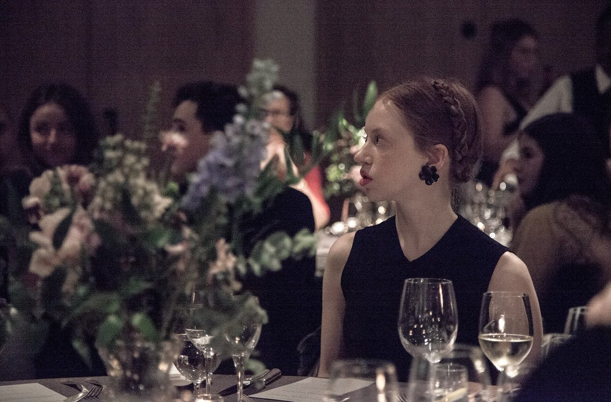 One of our favourite shots from the Most Promising Newcomer dinner tonight at the London @EDITIONHotels - nominee for @PinCushionFilm Lily Newmark listens to the opening address.