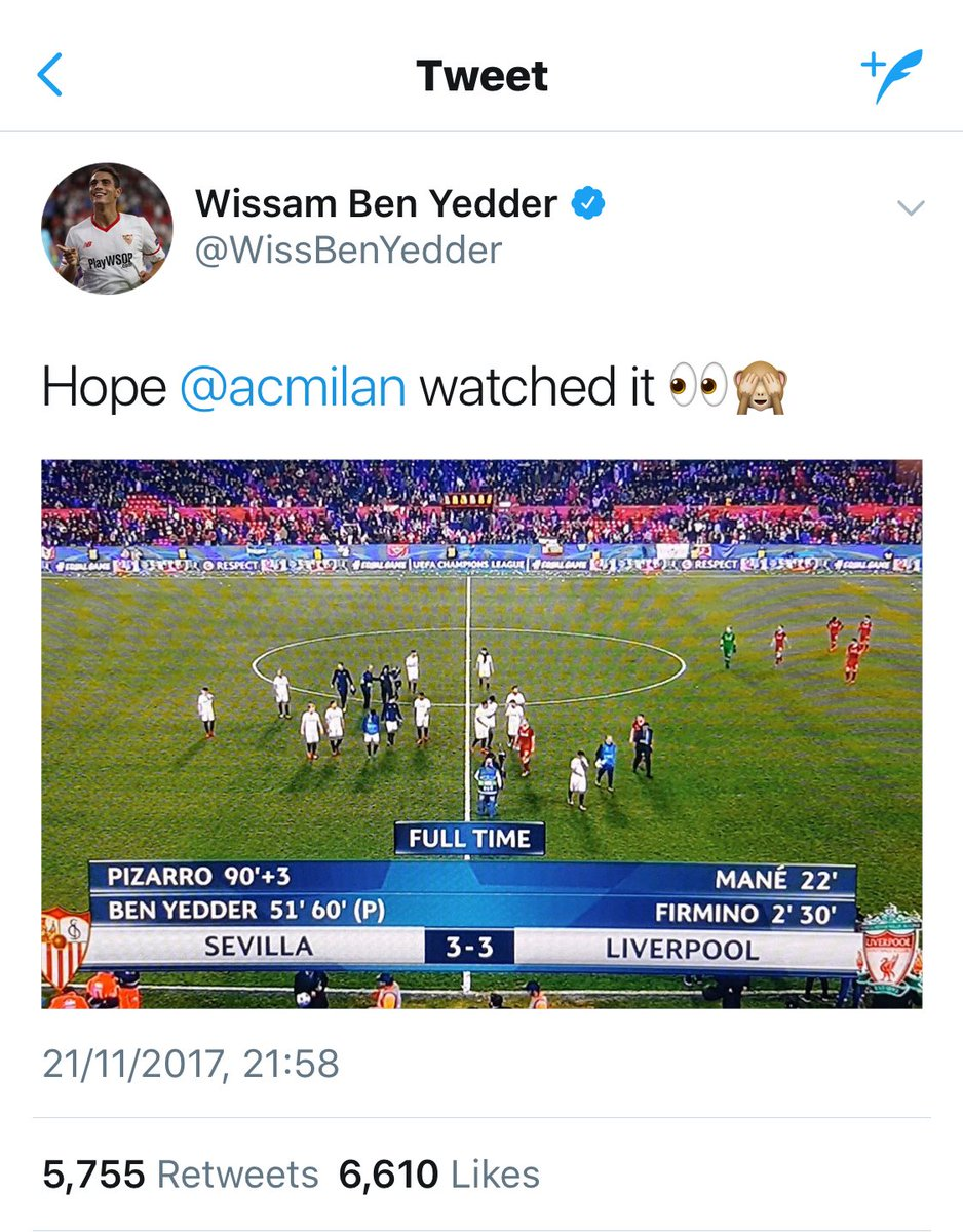 SAVAGE: @SevillaFC forward @WissBenYedder's post-match tweet about Liverpool. 😅🔥 https://t.co/oz1aQJDX9V