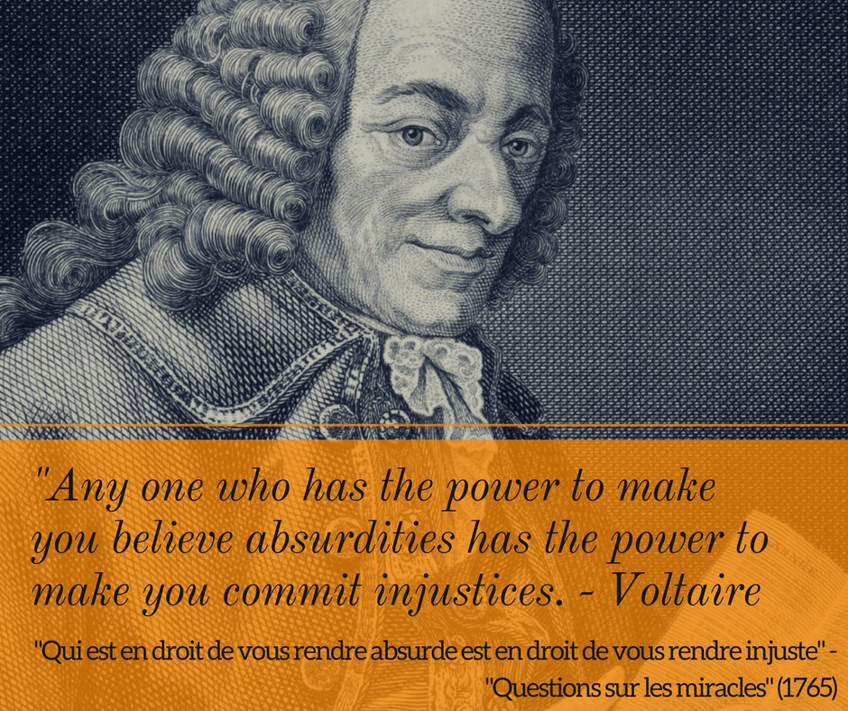 French philosopher #Voltaire was born #OTD in 1694. One of the most influential thinkers of the enlightenment, Voltaire was a writer, poet, historian, scientist and satirist and an outspoken advocate for civil liberties.<br>http://pic.twitter.com/czmppiKzw4