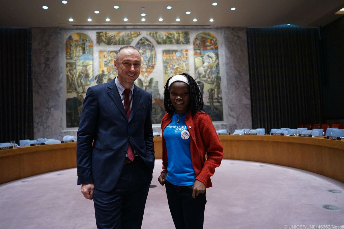 #KidsTakeover at the UN Security Council @ItalyUN_NY    On #WorldChildrensDay, former child soldier Graciela from Central African Republic & kids around the 🌎 raised their voices!