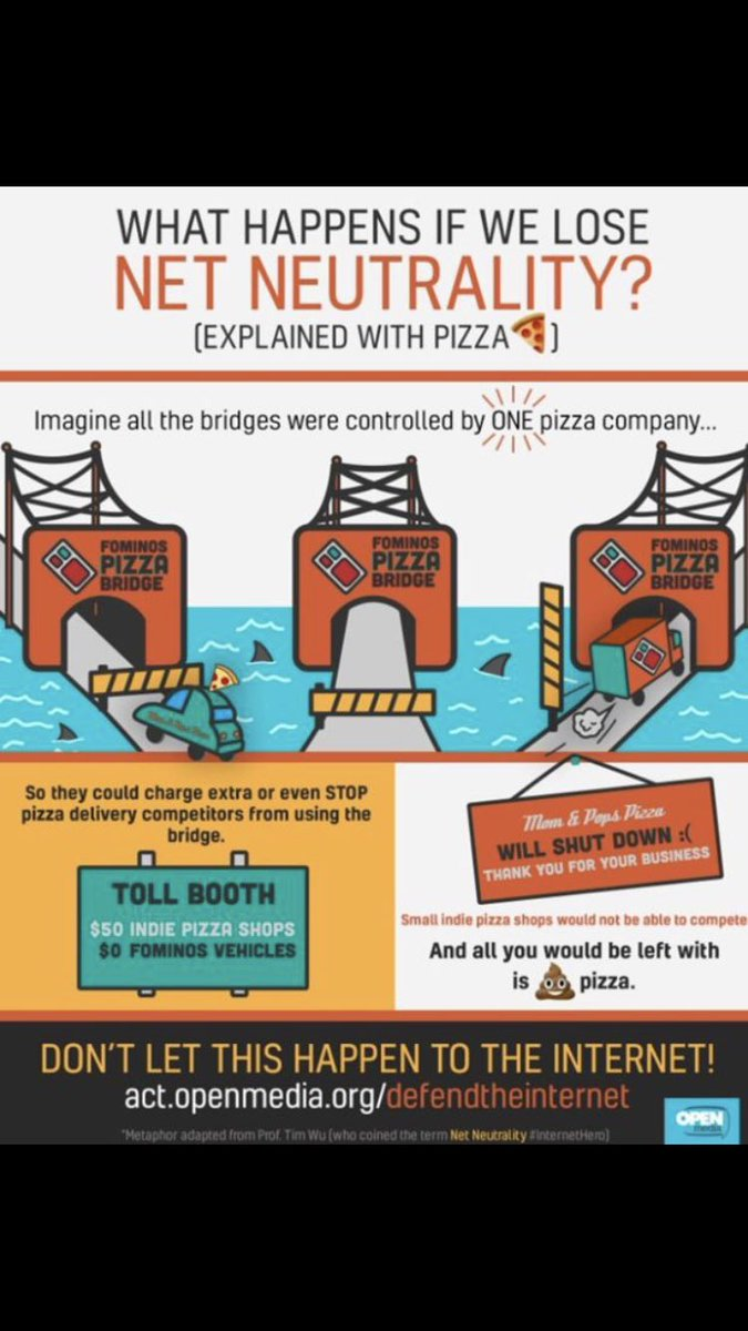 Here's what happens if we lose #NetNeutrality  ... explained with pizza! 🍕