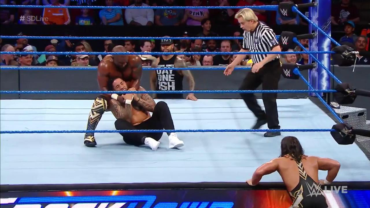 .@Sheltyb803 is taking FULL advantage of this opportunity to prove himself against Jey @WWEUsos! #SDLive https://t.co/Xhx6v9lP4R