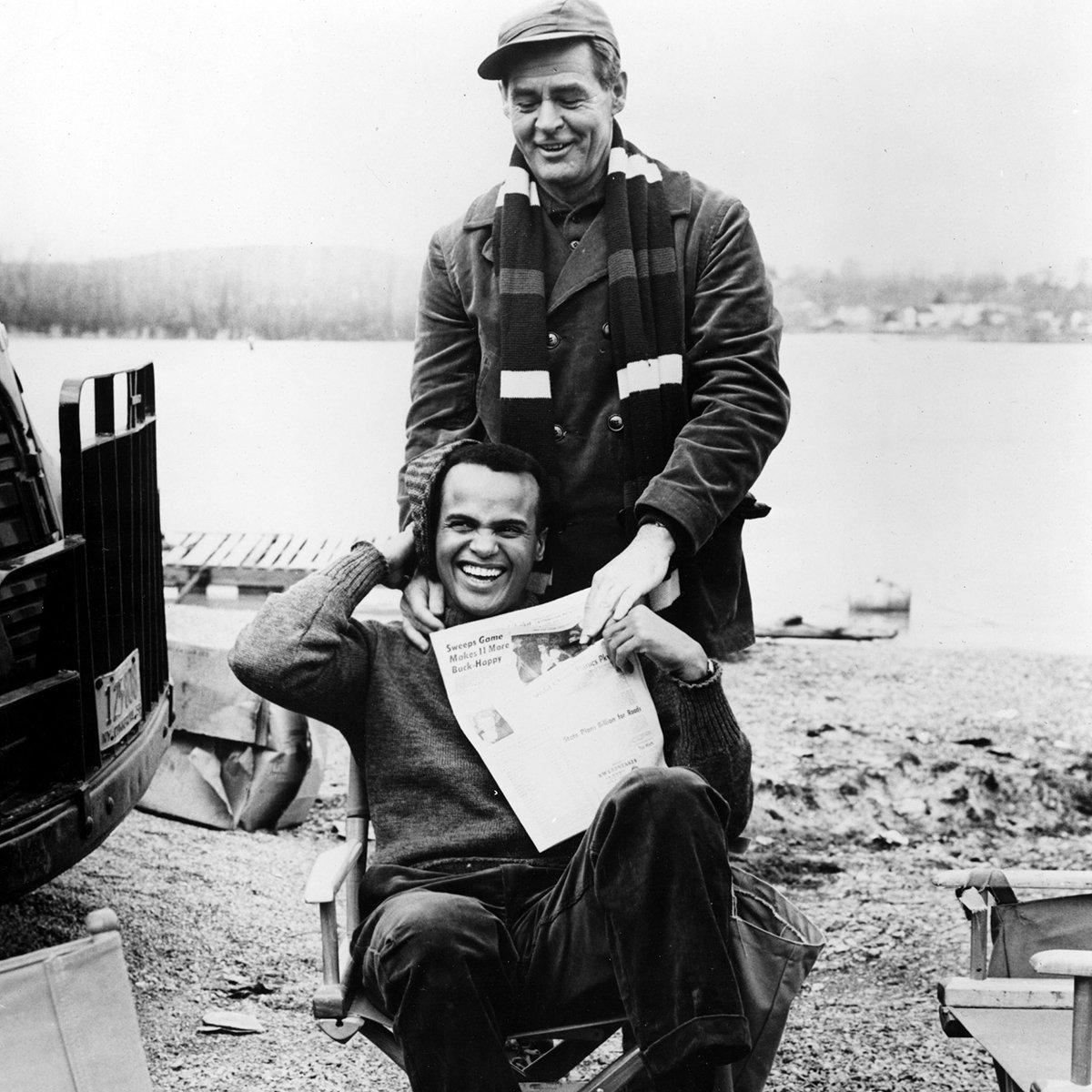 "TCM on Twitter: ""Harry Belafonte and Robert Ryan on the set of ..."