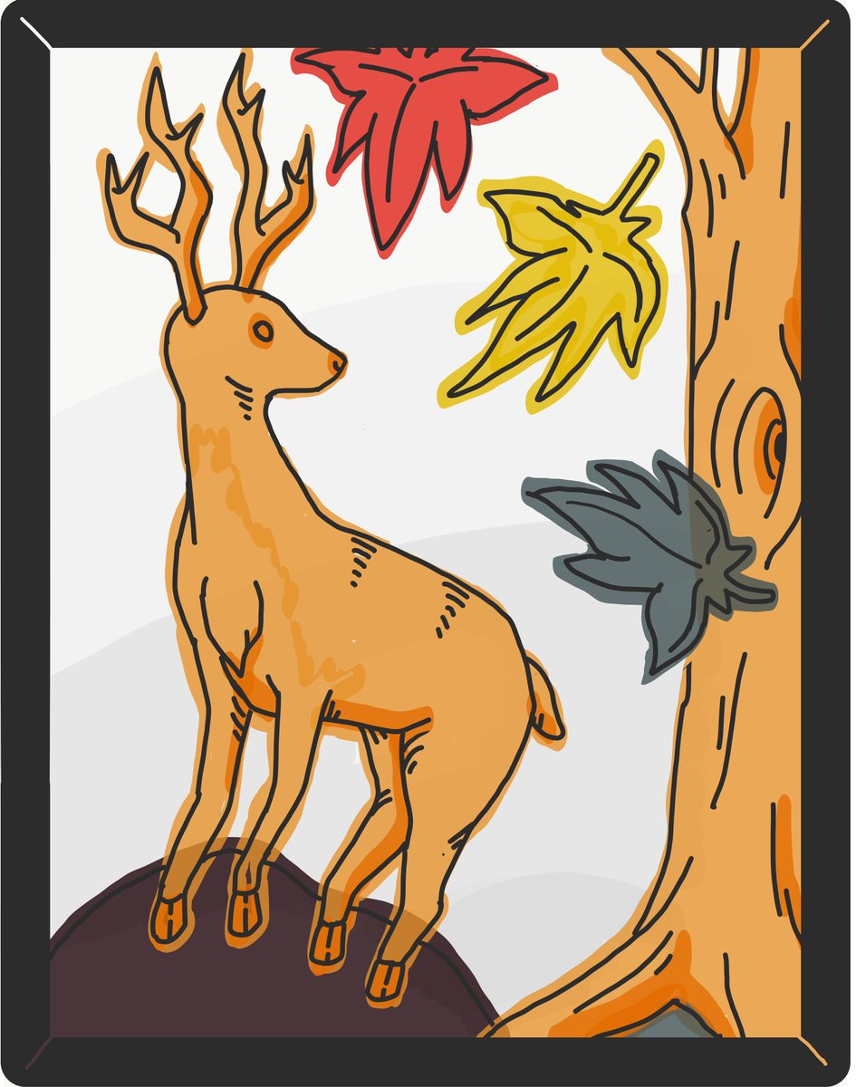 🦌🍁 椛 MOMIJI 🍂 花札のカード・グラフィックを描きました。I drew a hanafuda card (japanese card game) graphic. This one is called 'Shika (deer)' from the suit 'Momiji (autumn leaves)' ^^ Enjoy!