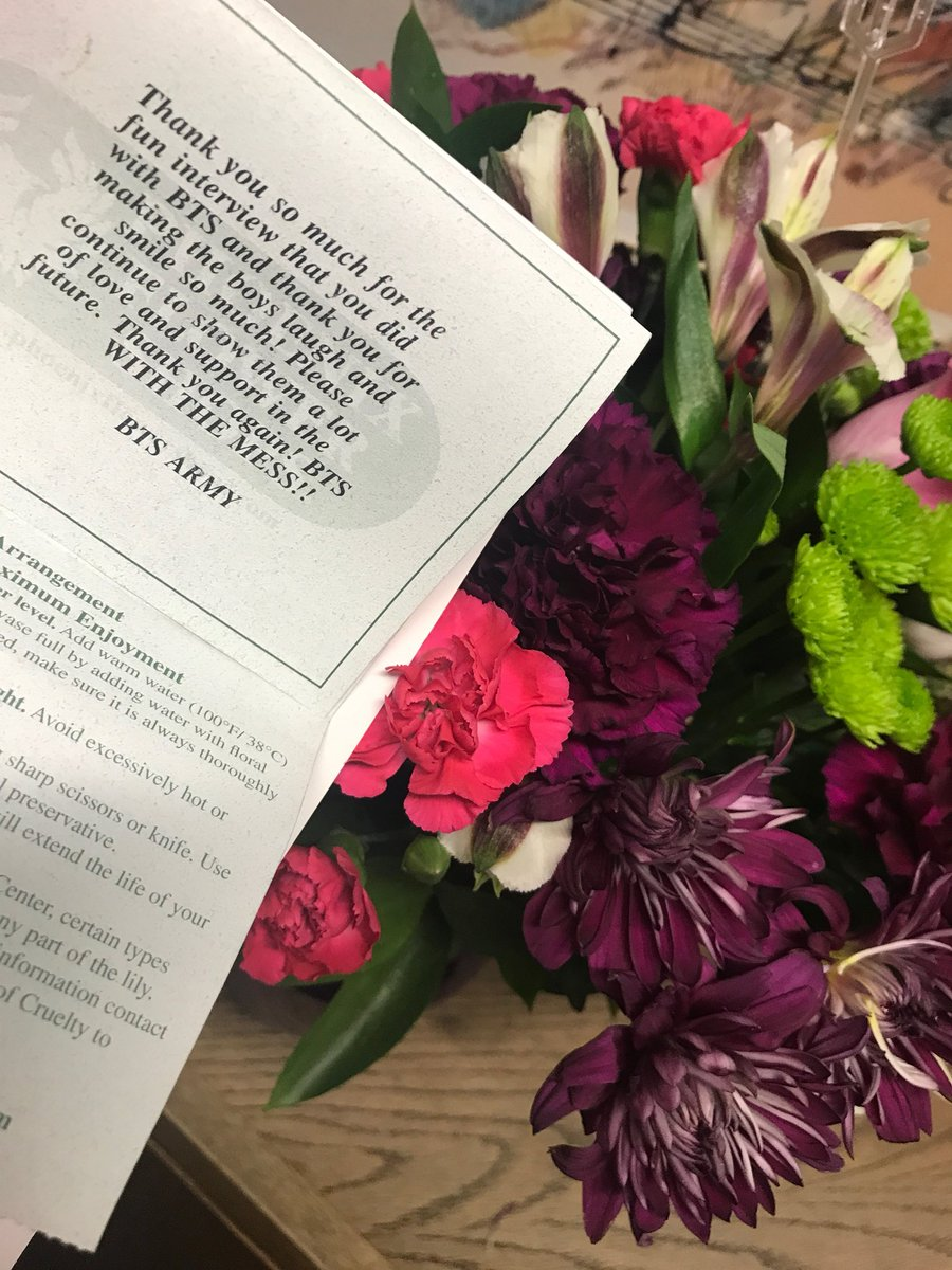 Thank you to the #btsarmy for sending our show flowers! Serious @BTS_twt .. you guys have the best fans! #BtsWithTheMess #Wow! <br>http://pic.twitter.com/74EKweB8Hn