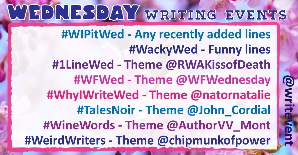 #wfwed PERFECT  #talesnoir CROSSROADS  #winewords STUFFED/FULL  #wipitwed (best recent lines)  #wackywed HOLIDAY TRAVEL  #1linewed THANKS/BOUNTY/HARVEST  #weirdwriters (lines outside your comfort zone)  #whyiwritewed WHAT ABOUT UR WIP R U THANKFUL FOR?<br>http://pic.twitter.com/nnhscKHKXS