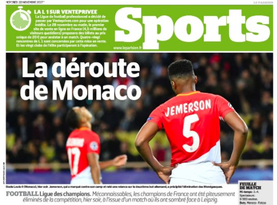 #UCL Variation from #LeParisien as they talk about a &quot;rout&quot; and @AS_Monaco_EN going out in &quot;pitiful fashion&quot;<br>http://pic.twitter.com/tjY3g4mcIM