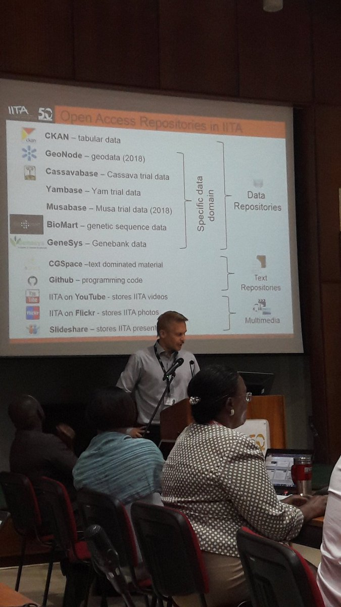 Our data and info is a public good. Petri Wiren shares on the wide array of tools and platforms @IITA_CGIAR for ensuring #openaccess. #Yambase  #Musabase #CGspace @CGIARlive @tomwansa #R4D #IITA50<br>http://pic.twitter.com/a7poaAl4LD