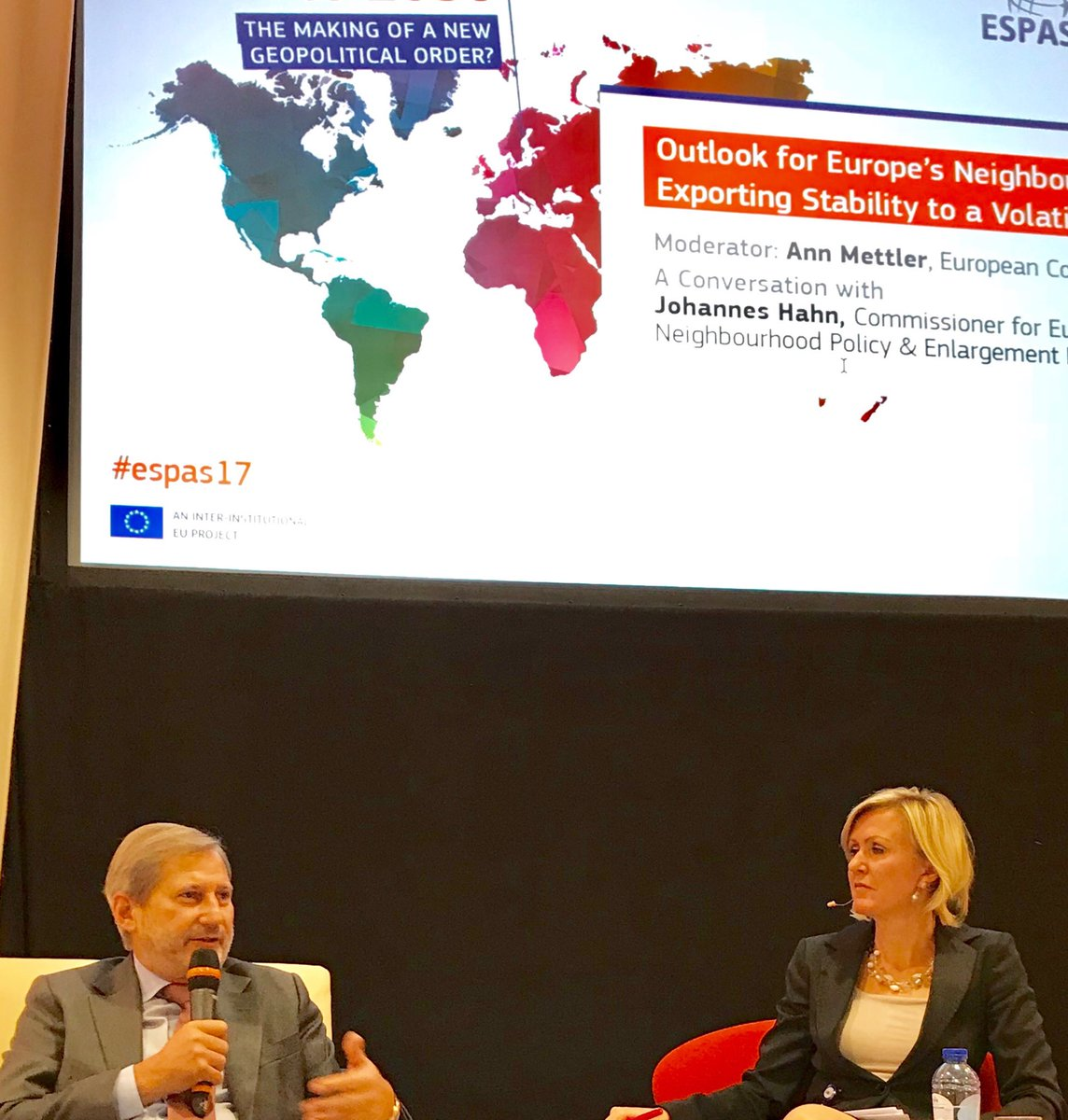 .@JHahnEU in conversation w @AnnMettler @ECThinkTank: #EU can only tackle new geopolitical challenges if we are more united, self-confident, robust and interest-based. Export stability to avoid importing instability, esp. in immediate neighbourhood. #espas17 @eu_near @eu_eeas<br>http://pic.twitter.com/DY50PR0veE