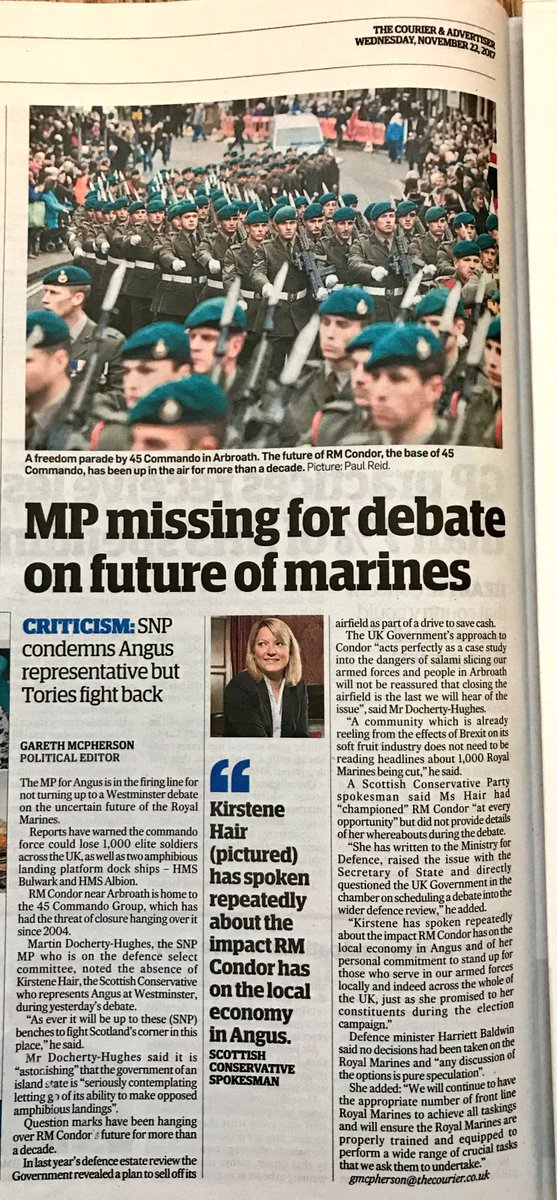 Embarrassing for Tory Kirstene Hair. Only Scottish MP representing a Royal Marine base and she's posted missing in Westminster debate on . . the future of the Royal Marines! She made this a key election pledge too. #shame @Cou_politics<br>http://pic.twitter.com/UDm2ARqZlr