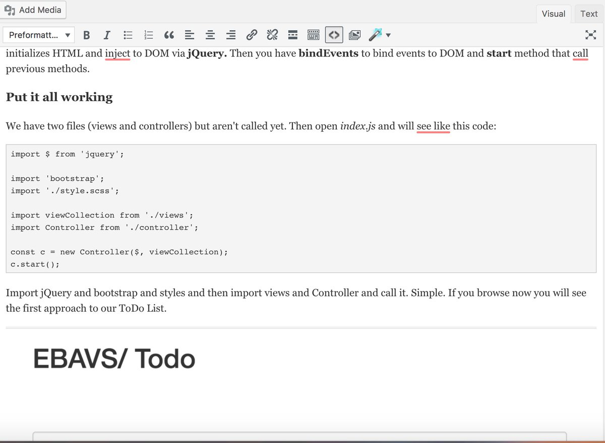 Finishing our new entry #blog #post. It&#39;s a #webpack with #es6 simple #tutorial explaining how to make todo list including #bootstrap and #jQuery<br>http://pic.twitter.com/2jc8Atj4Jv