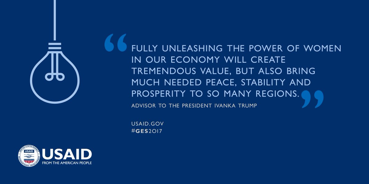 When women #entrepreneurs succeed, economies benefit at home & abroad! Our support continues when USAID joins  at @IvankaTrump. #GES2017#RoadtoGES