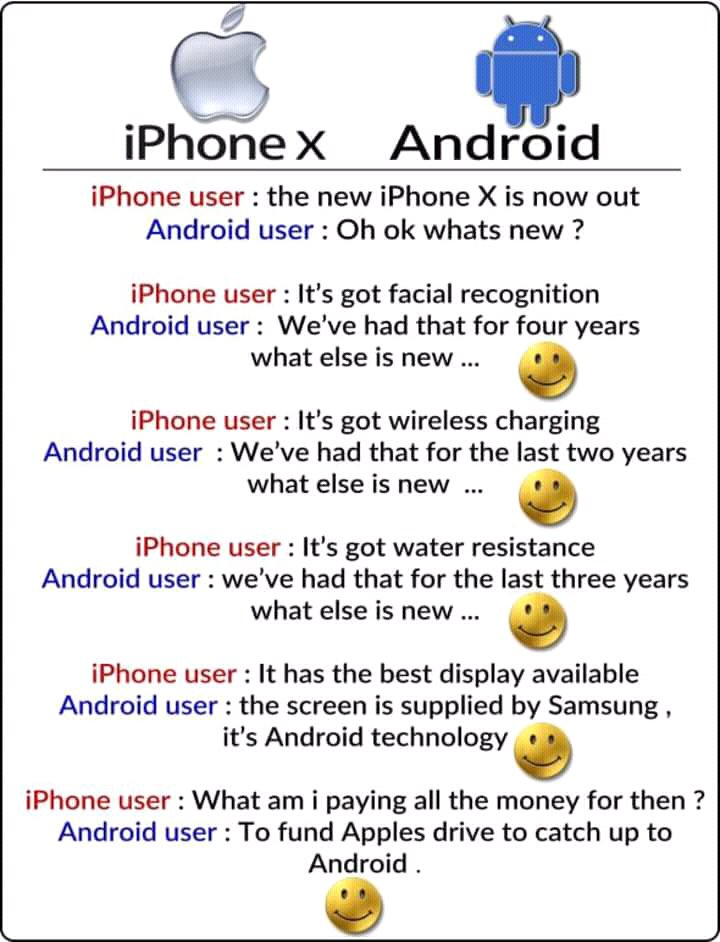 #IPhone X vs Any Android  https:// ej.co.za/pictures/iphon e-x-vs-android/ &nbsp; …  #Gadgets #IPhoneVsAndroid #IPhoneXJokes #Samsung #Tech<br>http://pic.twitter.com/RmmPnXu0E4