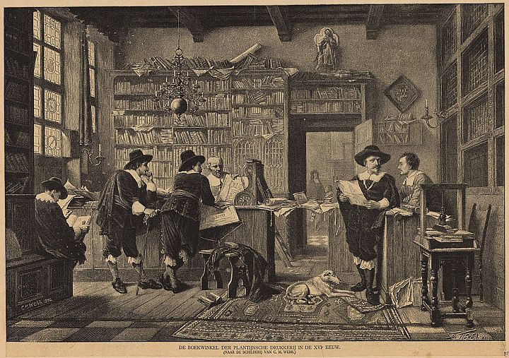 The &quot;Modern&quot; system of bookselling dates from soon after the introduction of printing. Here is a Dutch bookstore from the late 1500s. Looks cosy. #bookshop #Netherlands #Publishing <br>http://pic.twitter.com/JexRqZUF31