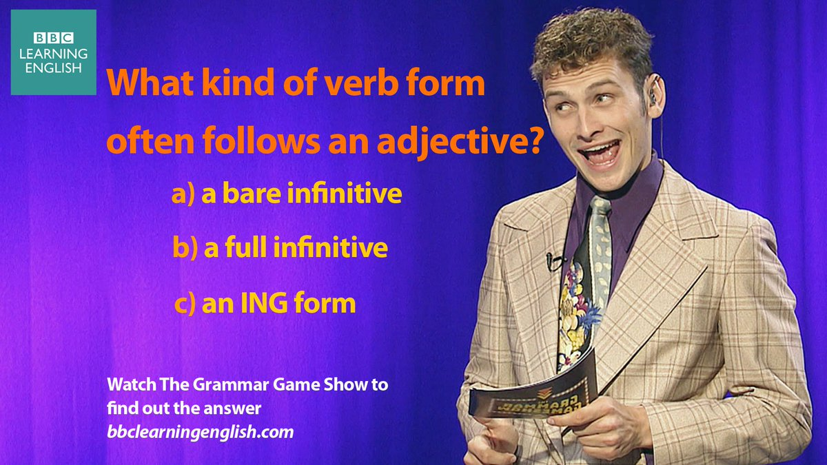 Coming soon, the next episode of The Grammar Game Show. To give you a head start, try answering this question. To watch previous episodes, click here https://t.co/tX15I4I1rJ #learnenglish #grammar