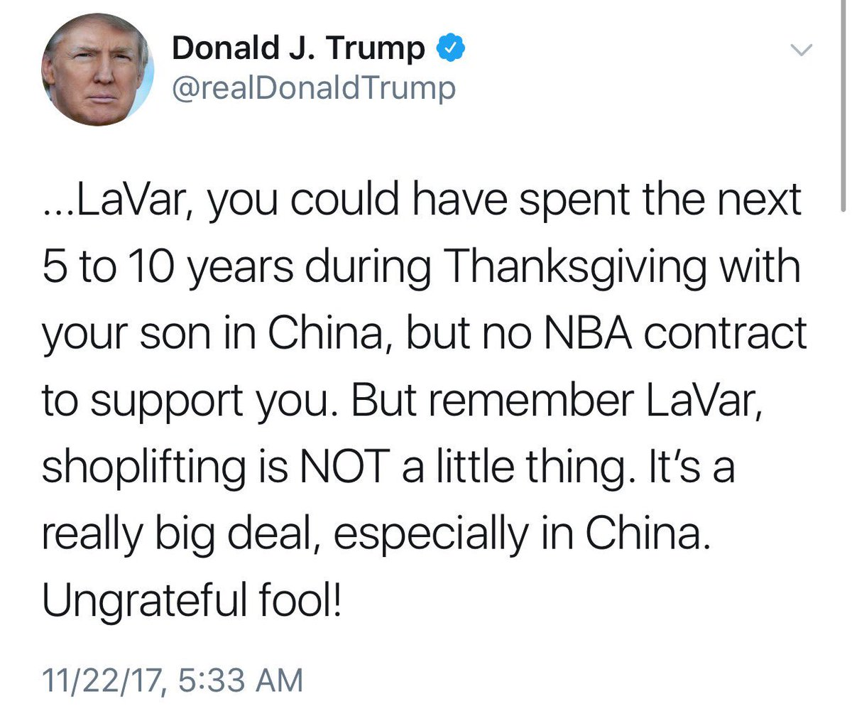 @realDonaldTrump 11 people were on board a crashed US Navy aircraft but at 5 am, the President of the United States is spending his time angrily calling LaVar Ball (yet another black person he's attacked) a poor man's Don King and an ungrateful fool… https://t.co/Hgd