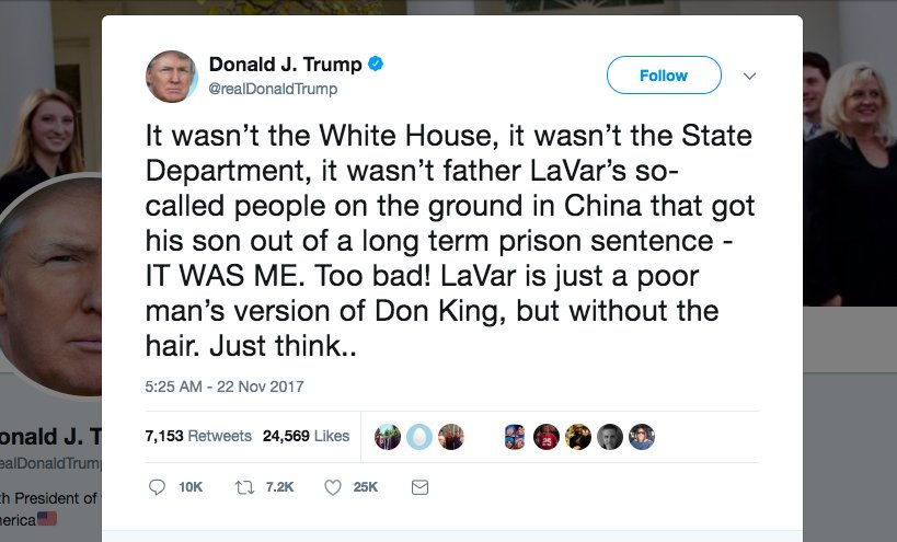 Trump lashes out at 'ungrateful fool' LaVar Ball, demands full credit for the release of his son: https://t.co/eycaZ1MpbG