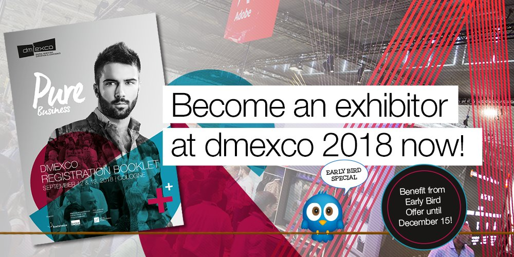 Are you planning to exhibit at #dmexco 2018? Benefit from our #EarlyBird #Offer and get involved in the planning process right from the start! Only available until December 15   https:// dmexco.com / &nbsp;  <br>http://pic.twitter.com/4A1rZWlVm1