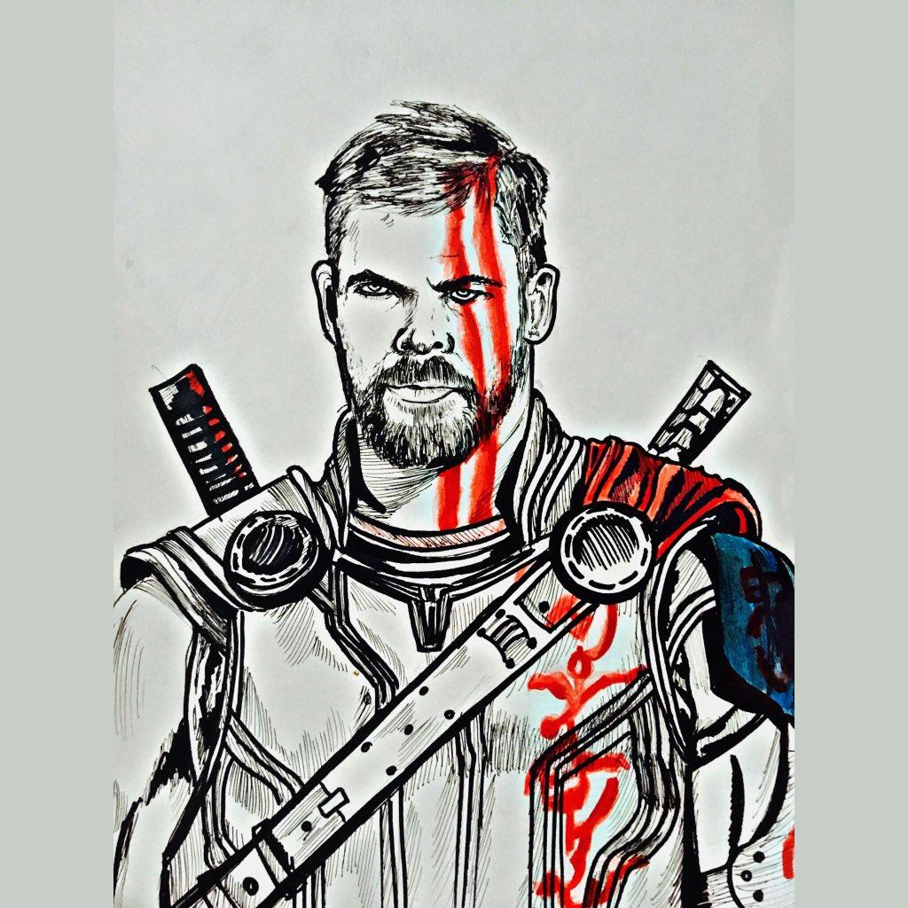 "Rueben on Twitter: ""Thor drawing #Thor #ragnarok Follow me on ign @artlligator for all my art…"