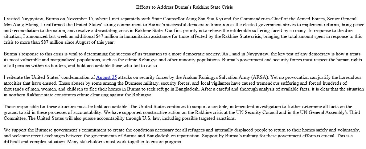 JUST IN: Secretary of State Rex Tillerson describes violence against Rohingya in Myanmar as ethnic cleansing, says 'those responsible for these atrocities must be held accountable'