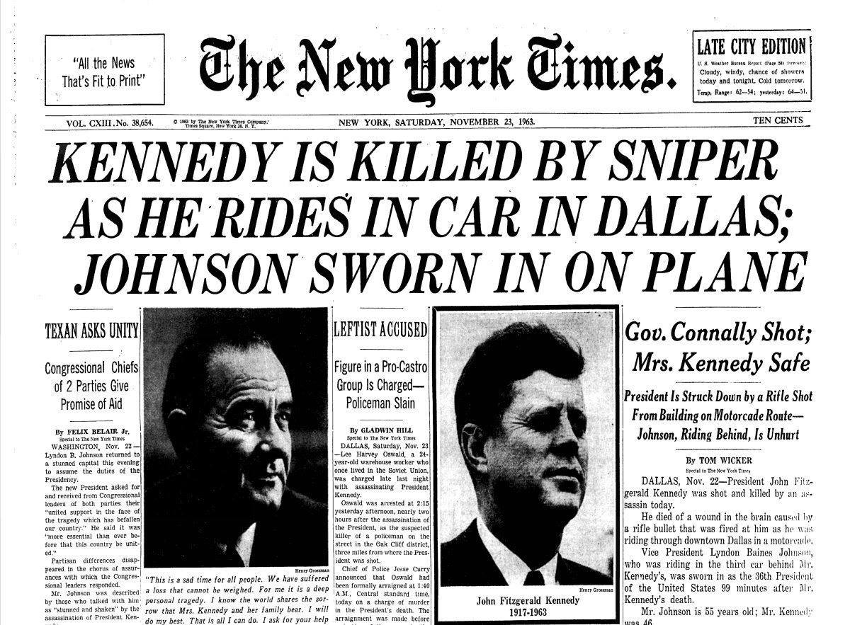President John F. Kennedy is assassinated in Dallas, on this day in 1963. https://t.co/s49tYEHBIe