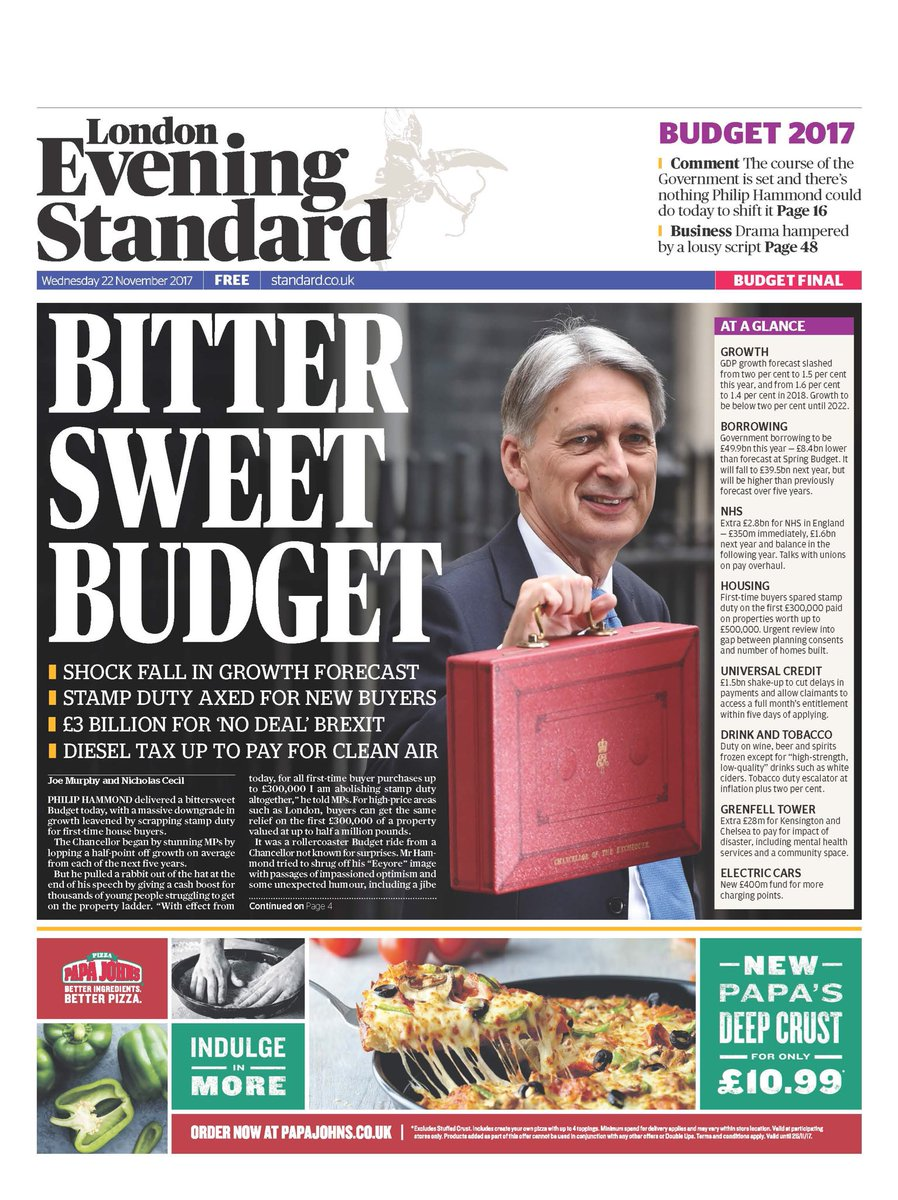 Today's final edition @EveningStandard: the Bittersweet Budget, as Chancellor's welcome measures overshadowed by major downgrade to UK growth forecasts