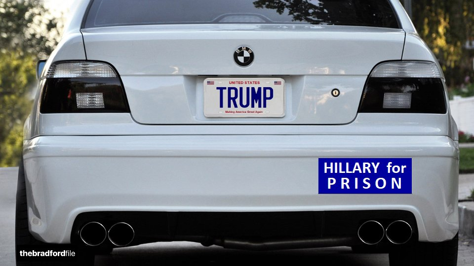 .@realDonaldTrump: It's amazing how many Hillary bumper stickers are still on the road. HILLARY for PRISON. ���� https://t.co/7Eepy7TpPE