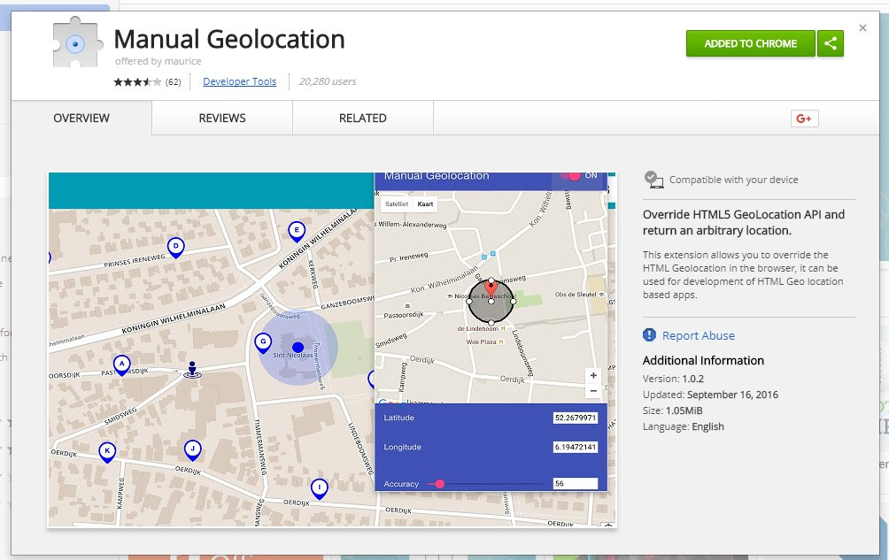Fake your location with this cool &quot;Manual Geolocation&quot; extension for Chrome  https:// goo.gl/hT9JsJ  &nbsp;   Perfect for #localseo specialists testing 3 pack results around the country, not just at city but at street level accuracy....remember it&#39;s all about proximity  <br>http://pic.twitter.com/AXy9vE3ipj
