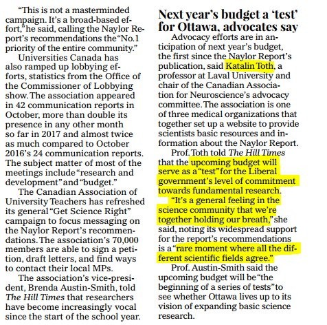 CAN Advocacy Chair @mossy_fibers cited in @TheHillTimes special section on Research today - Next budget seen as a test of the @liberal_party commitment to Fundamental Research @JustinTrudeau @ScienceMin @Bill_Morneau @ChiefSciCan All scientists agree:#supportthereport <br>http://pic.twitter.com/qPTjRuOh6d