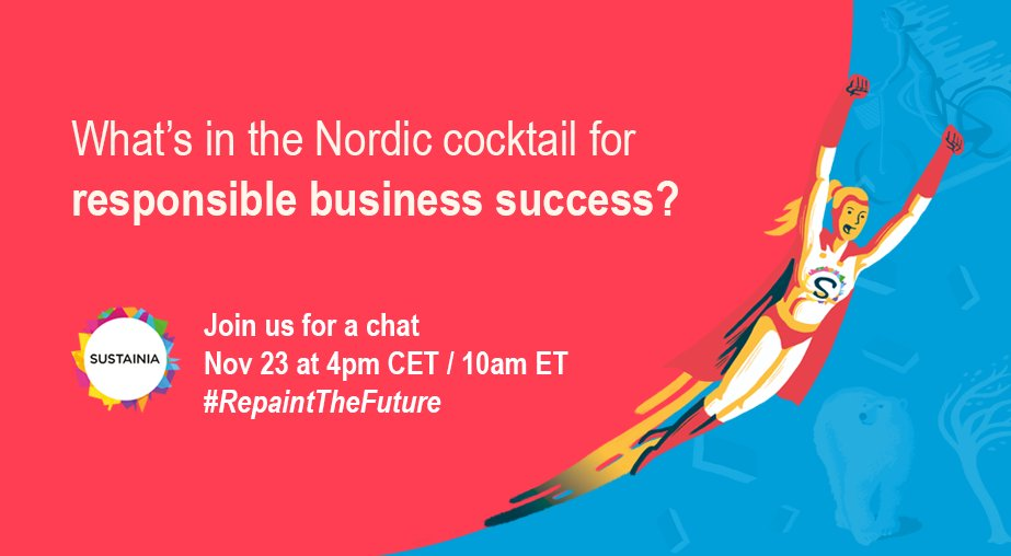 We discuss the #Nordic way of doing business tomorrow. Want to join us? Tune in at 4pm CET on #RepaintTheFuture and take part in the conversation #GlobalGoals #CSR #sustainability<br>http://pic.twitter.com/SG26ix10ky