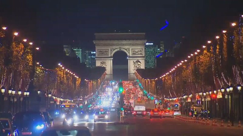 Christmas lights on Paris' Champs-Elysees were switched on today https://t.co/xj0X38X6Dy