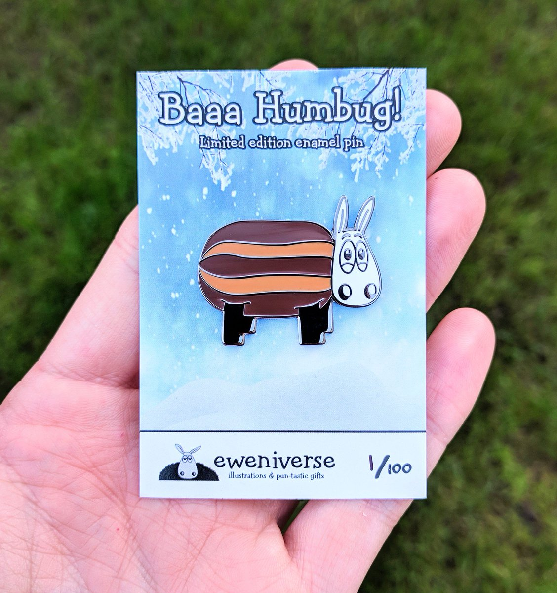 Baaa Humbug! Ltd edition winter enamel pin at  http://www. eweniverse.com  &nbsp;    #HandmadeHour #MidlandsHour #GlosHour #Sheep #bahhumbug #stockingfillers<br>http://pic.twitter.com/38ixT97ime
