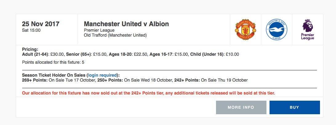 A handful of Man Utd v #BHAFC tickets ha...