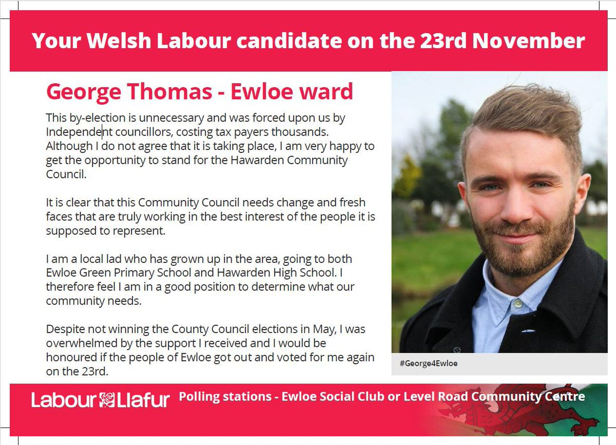 TOMORROW vote for  @George4Ewloe   #Hawarden #Ewloe #Vote #Labour #WelshLabour #Community #Local #G4E #VoiceForTheCommunity  #ThursdayThought #Thursday #RT<br>http://pic.twitter.com/2Wi2BHd2B1