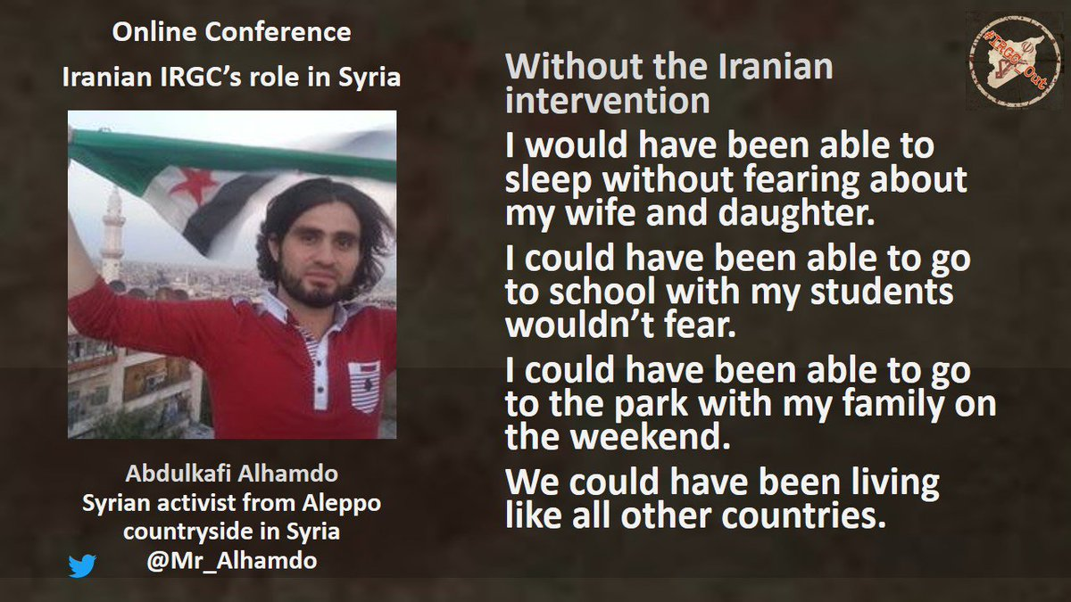 .@Mr_Alhamdo Without the #Iran-ian intervention I would have been able to sleep without fearing about my wife and daughter. I could have been able to go to #school with my #students wouldn't fear. I could have been able to go to the park with...  https:// youtu.be/zT5Gkcm4xZA?t= 45m37s &nbsp; …  #IRGC_Out<br>http://pic.twitter.com/qSSRhx69ke