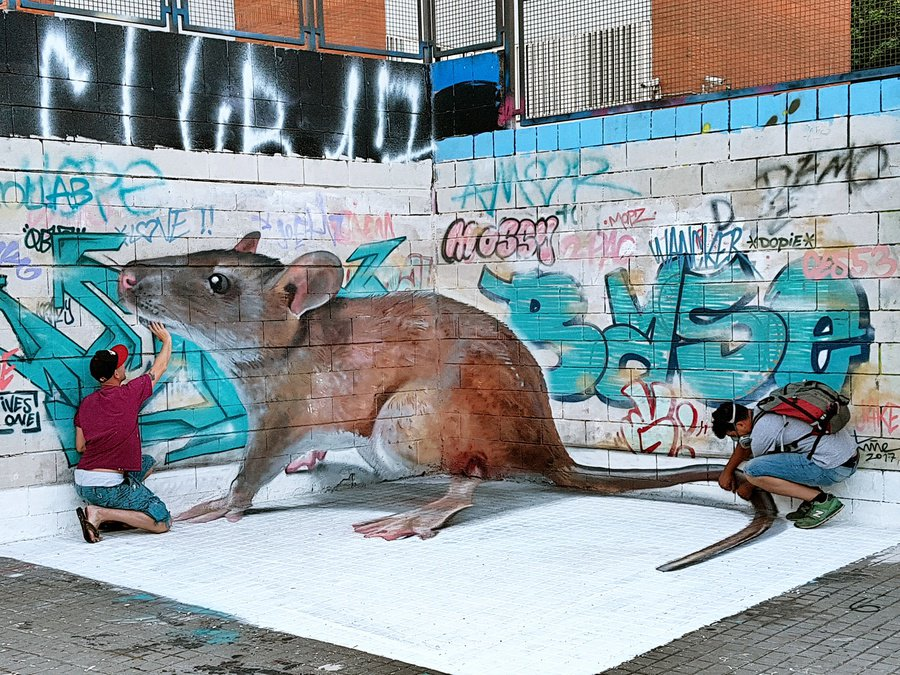 #3Dart by @swaknineart &amp; @IVESONE in #Spain! Add  to the comments to show this graffiti loving #rat some love! -- #3d #streetart #graffiti<br>http://pic.twitter.com/dGCIXg3emS