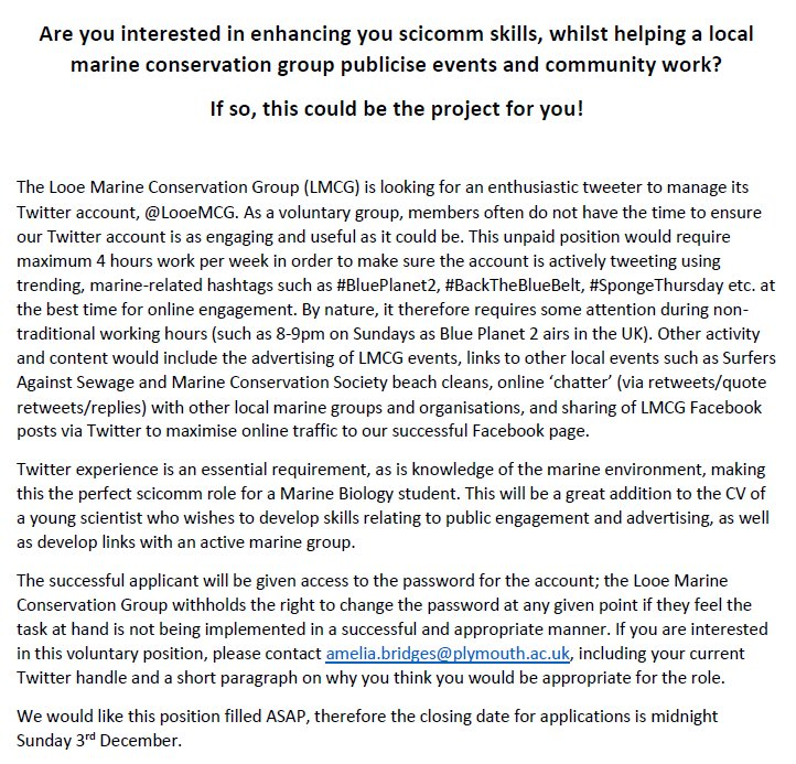 ***#scicomm ROLE ADVERT*** Please see attached role description for @LooeMCG Twitter account manager! Perfect for a #MBIO student! Contact @Amelia_Bridges for questions. Please RT. @MBSPlymUni @volcornwall @ukadventuregurl @MBA @SciComm_Hub @YSbeachrangers<br>http://pic.twitter.com/w4OFIMh3aF