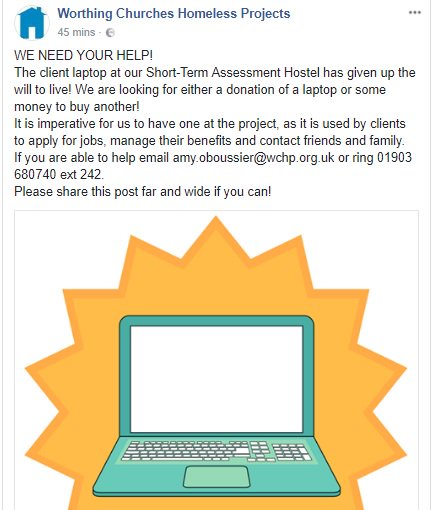 Pinched this from the @wchp_news Facebook feed.  Can anyone help out this brilliant #homeless charity with an RT ... or better still .... a laptop?   #Worthing #Homelessness #Laptop #Charity <br>http://pic.twitter.com/fc9yQabF2c