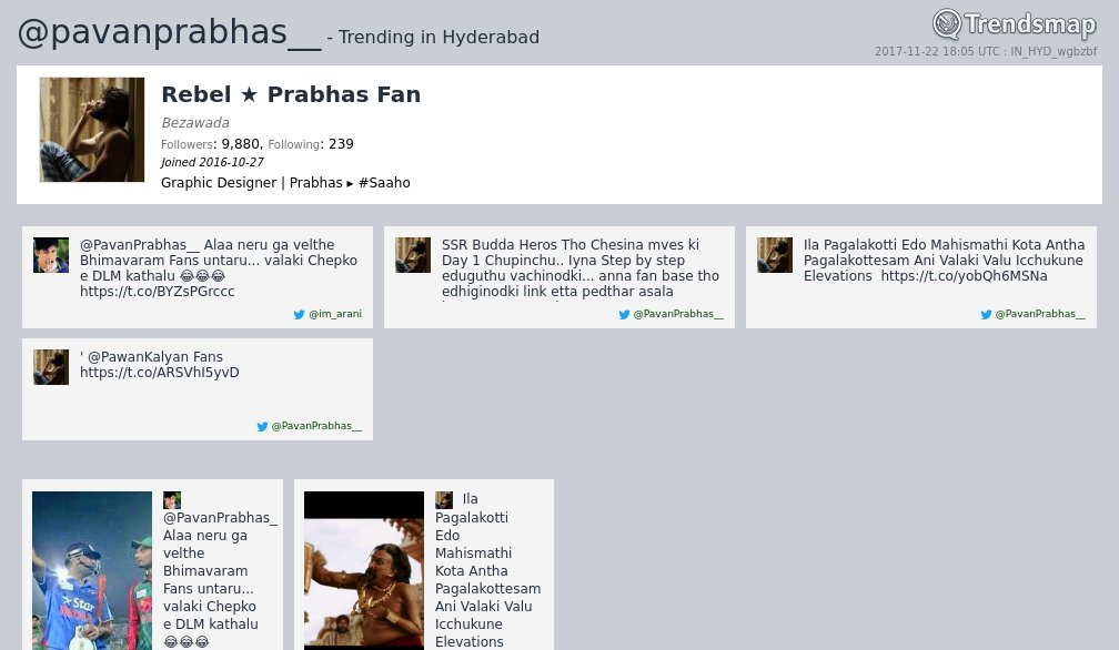 Rebel ★ Prabhas Fan, @pavanprabhas__ is now trending in #Hyderabad   https://www. trendsmap.com/r/IN_HYD_wgbzbf  &nbsp;  <br>http://pic.twitter.com/4wx0lUfvfh