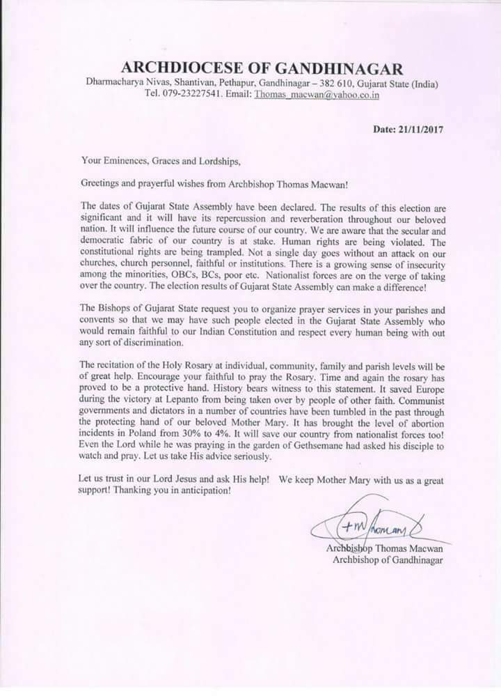 "Gujarat Church in letter written in political tone urges people to save India from ""nationalist forces"""