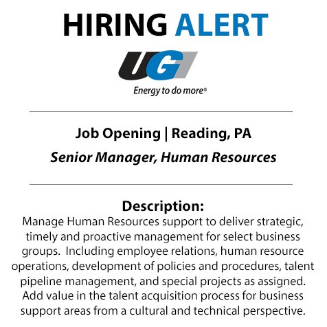 test Twitter Media - Jump start your career with UGI. We're searching for a Sr. Human Resources Manager to join our team in Reading. Apply now: https://t.co/ecZRzRj9VB https://t.co/3ychoj7ZRz