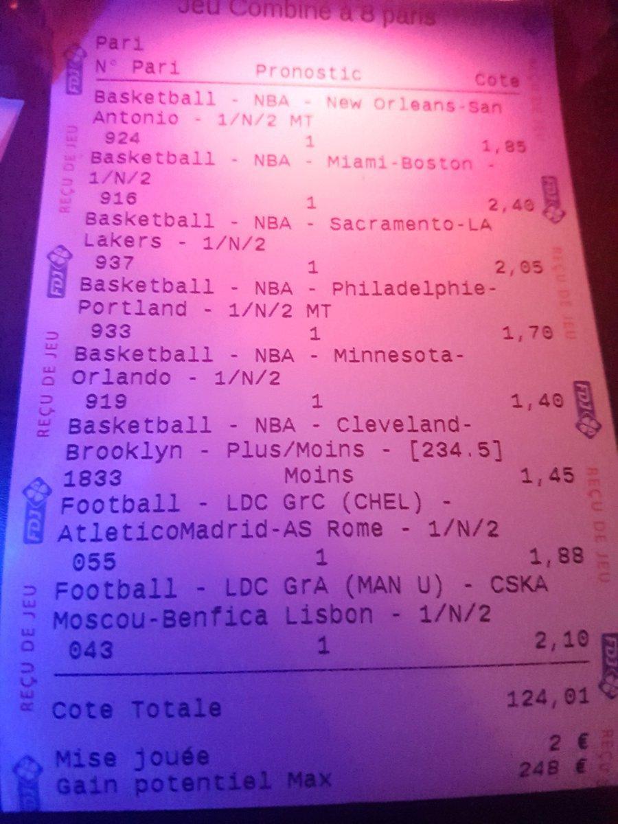 Mon gros fun de la soirée !! Côté a 124 !!! #ChampionsLeague #CSKASLB #NBA  #TeamParieur #ParionsSport #FDJ #HoustonRockets #Miami #Minnesotapic.twitter.com/k2i2ZnN5LK