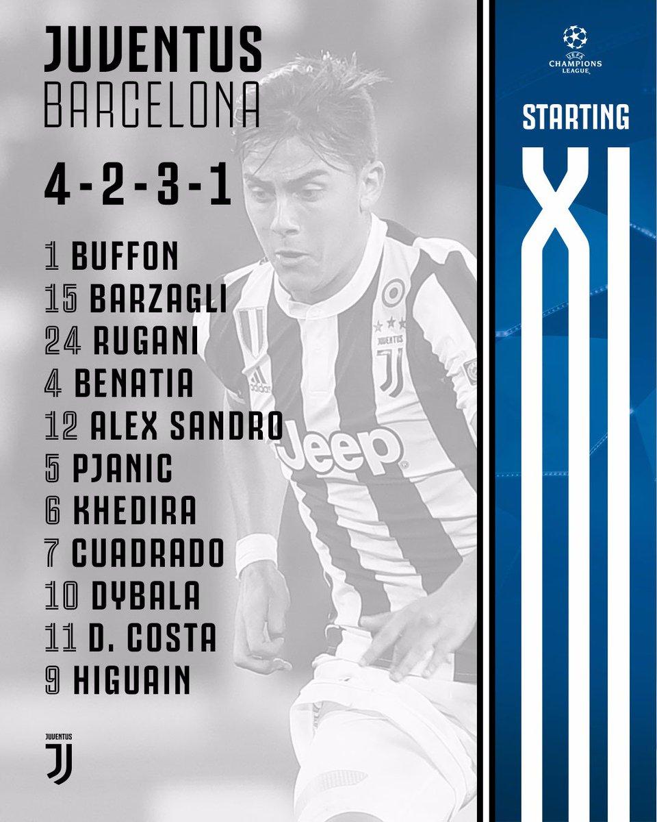 Starting XI Juve kontra Barca, via Twitter @juventusfcen