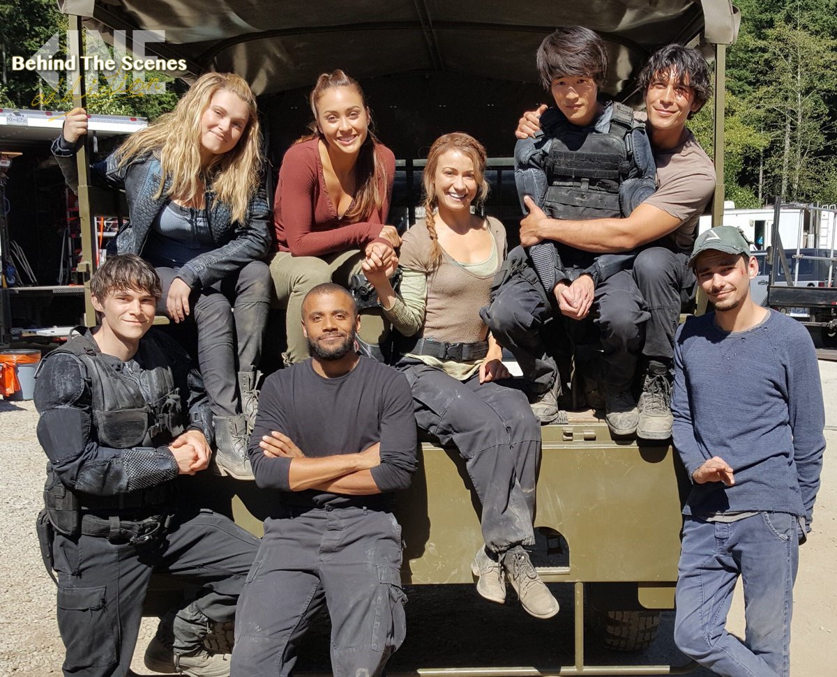 The cast of #The100 on a break!  #BeAddi...