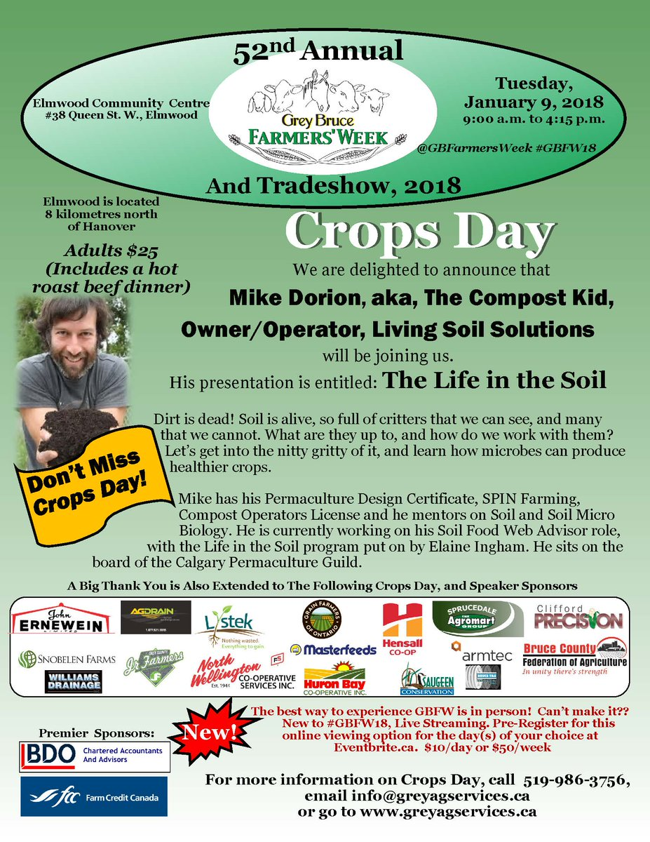 Don&#39;t miss @soilkid at #GBFW18 #Ecological and #Crops Days - Jan 8 and 9 respectively, Elmwood CC. #ontag #conference #tradeshow #soil #lifeinthesoil #livestreaming available.<br>http://pic.twitter.com/XwVZV61nCw