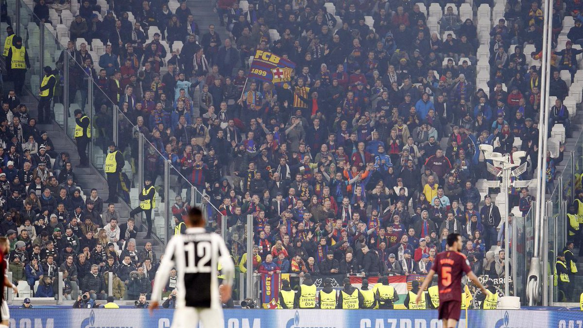 👏👏 Thanks to all Barça fans who supported us tonight at Juventus Stadium! #JuveBarça #ForçaBarça https://t.co/EHgmphkv04