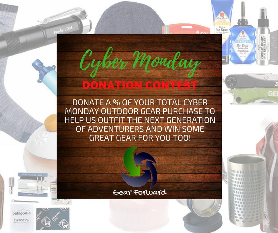 Last chance to sign up for our #cybermonday donation #contest  https://www. gearforward.org/cyber-monday-d onation-contest.html &nbsp; …  #hikerchat #shopping #blackfriday #OptOutside  #outfam #parkchat #gearmeout #nonprofit <br>http://pic.twitter.com/AMni0RmKmy