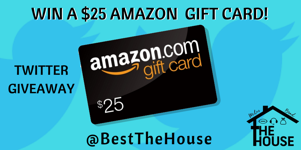 Win a $25 #Amazon Gift Card! How to win: 1) #Follow us @BestTheHouse  2) #Retweet 3) Reply to this tweet!  Winner announced December 9th  #AmazonGiveaway #Giveaway #Sports #NFL #NCAA #Gift #FF #FollowMe #FortheFans #Swag #Hashtag #HappyHolidays #Podcast<br>http://pic.twitter.com/06iKQ2jpft