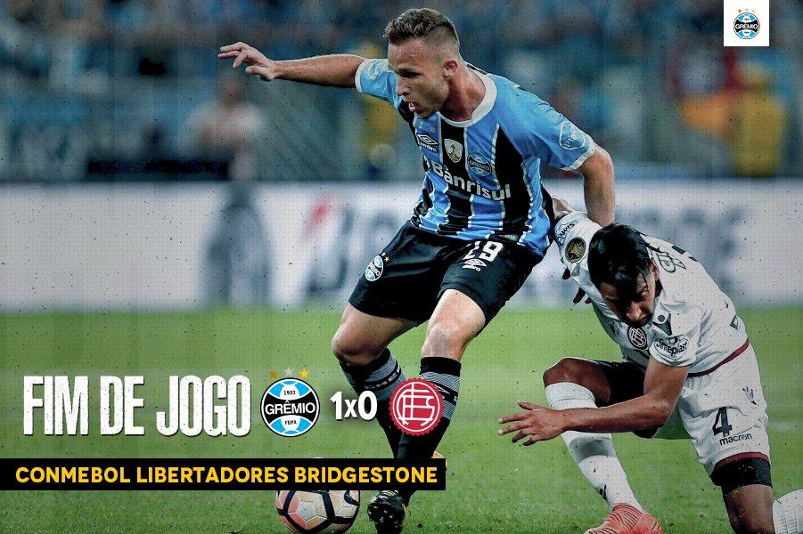 Fim de jogo: Grêmio 1x0 Lanús Com gol de Cícero, após passe de Jael, levamos a vantagem para o segundo confronto. #Libertadores2017 #SoyLocoPorTri #QueremosACopa #RetomadaDaAmérica