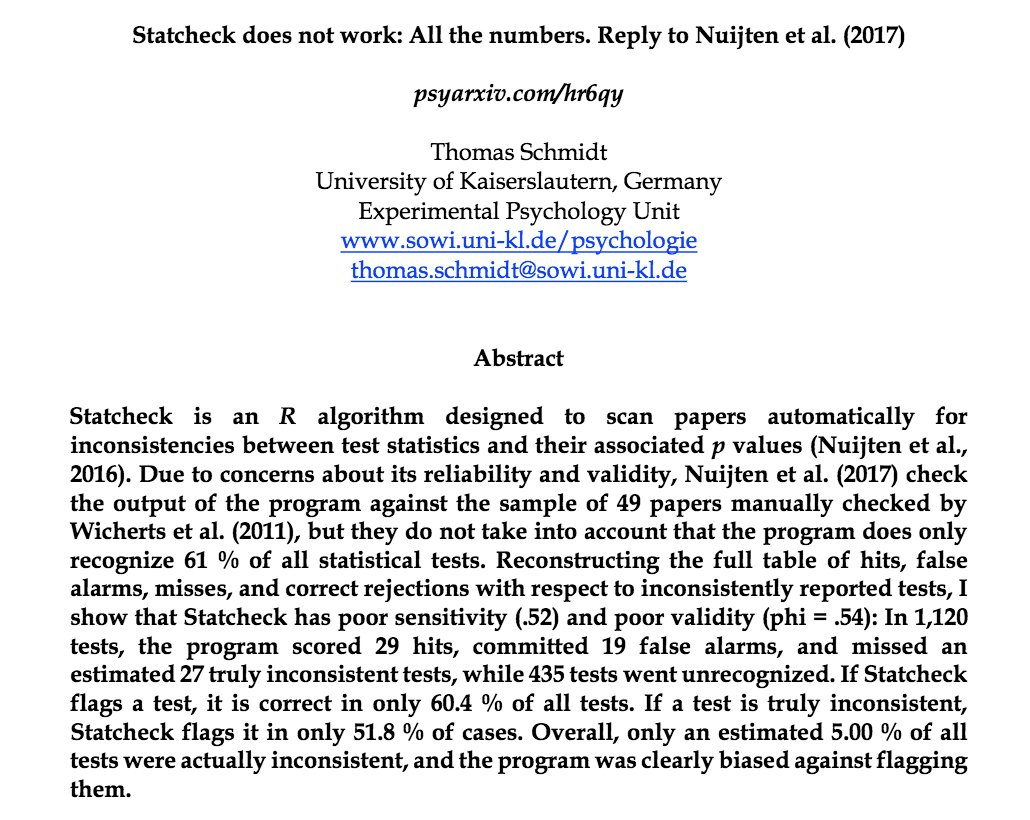 I haven&#39;t read the preprint in detail, but knowing the #statcheck authors, they&#39;ll take this seriously &amp; look into it. Excited to have the community vet #rstats packages &amp; improve science.   /discuss   https:// psyarxiv.com/hr6qy/  &nbsp;  <br>http://pic.twitter.com/NY9itwLM9j